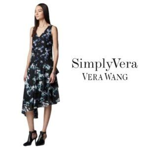 Simply Vera Wang Black Floral Ruffle Dress Sz L